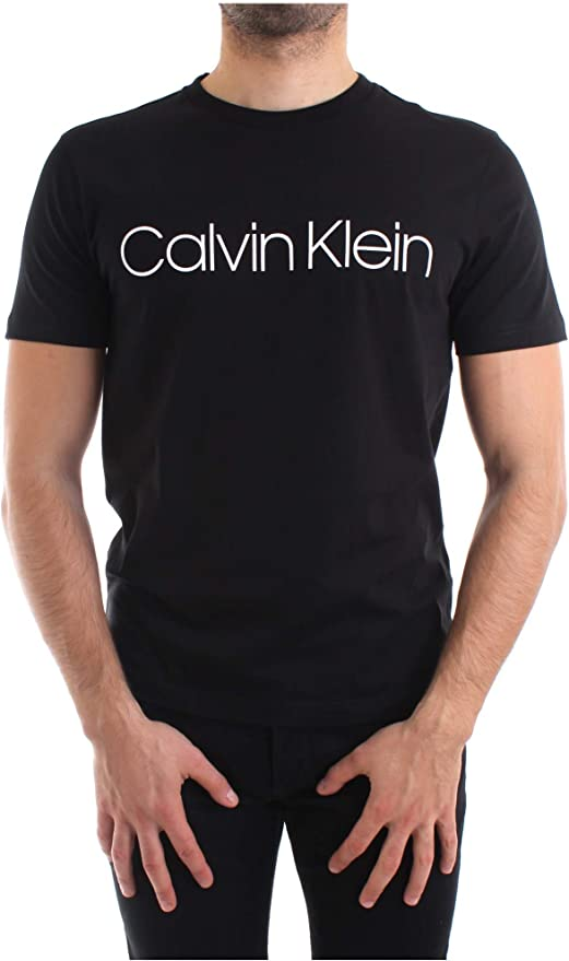 Calvin Klein Hombres Camiseta con Logotipo de algodón orgánico Negro: Amazon.es: Ropa y accesorios