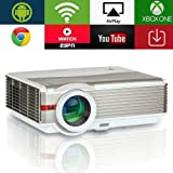 5000 Lumens Android LED LCD HD Video Projector Support 1080P High Definition Wifi Home Theater Projector Wireless Airplay for Smartphone iOS,Multimedia HDMI USB VGA AV for Video Game TV Outdoor Movie