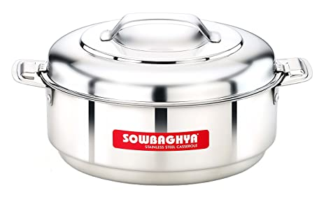 SOWBAGHYA Stainless Steel Casserole, 5000 ml, Silver