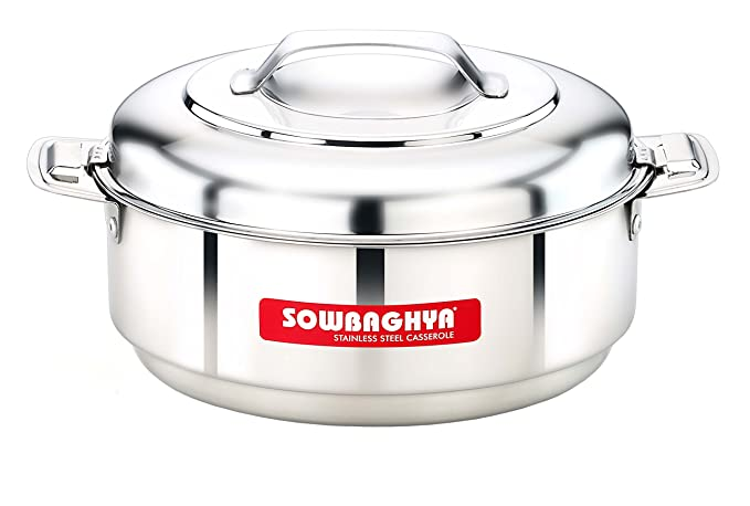 SOWBAGHYA Stainless Steel Casserole, 3500 ml, Silver Serving Casseroles   Tureens