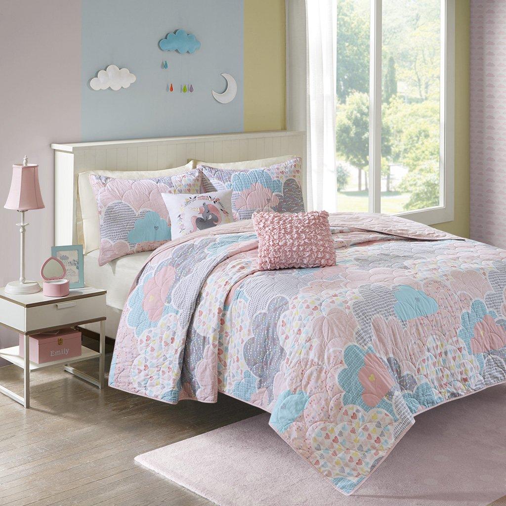 Urban Habitat Kids Cloud Full/Queen Bedding For Girls Quilt Set - Pink , Geometric, Unicorn – 5 Piece Kids Girls Quilts – 100% Cotton Quilt Sets Coverlet