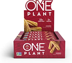ONE Plant Protein Bars, Churro, Vegan, Gluten Free Protein Bars with 12g Protein & Only 1g Sugar, Guilt-Free Snacking for High Protein Diets, 1.59 Oz (12 Pack)