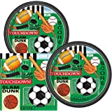 Classic Sports Themed Birthday Party Plates & Napkins Serves 16