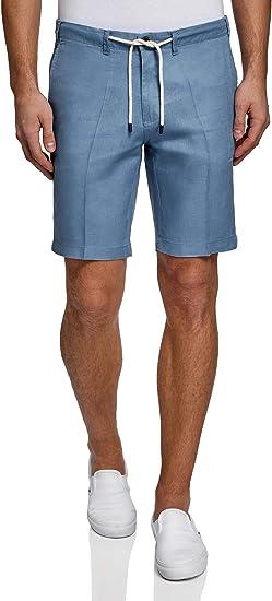 TALLA 36. oodji Ultra Hombre Pantalones Cortos de Lino con Cordones