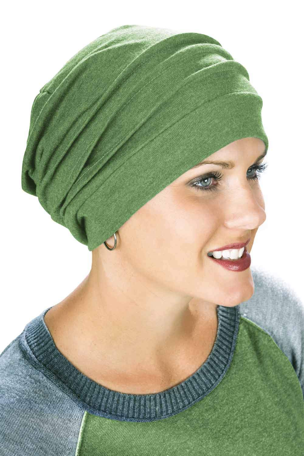 Headcovers Unlimited 100% Cotton Slouchy Snood Caps for Women with Chemo Cancer Hair Loss Green Clover