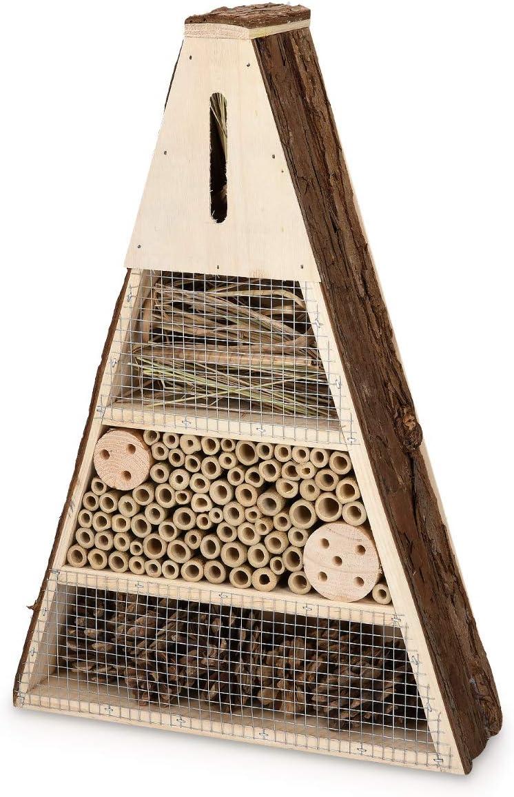 Navaris Hotel para Insectos Triangular de Madera - Observatorio de Insectos 28 x 8.5 x 40CM - Casa Natural Cubierta metálica y Gancho para bichos