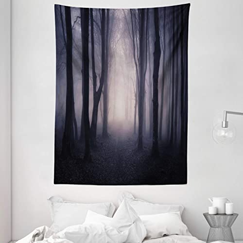 Ambesonne Forest Tapestry, Path in Dark Deep in Forest with Fog Halloween Creepy Twisted Branches Picture, Wall Hanging for Bedroom Living Room Dorm, 60 X 80 , Grey Purple