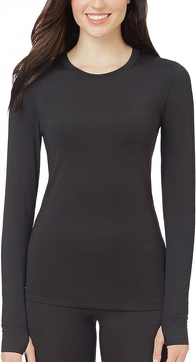 Womens Right CuddlDuds Long Sleever Crew Shirt Black Size Medium Stretch Fleece