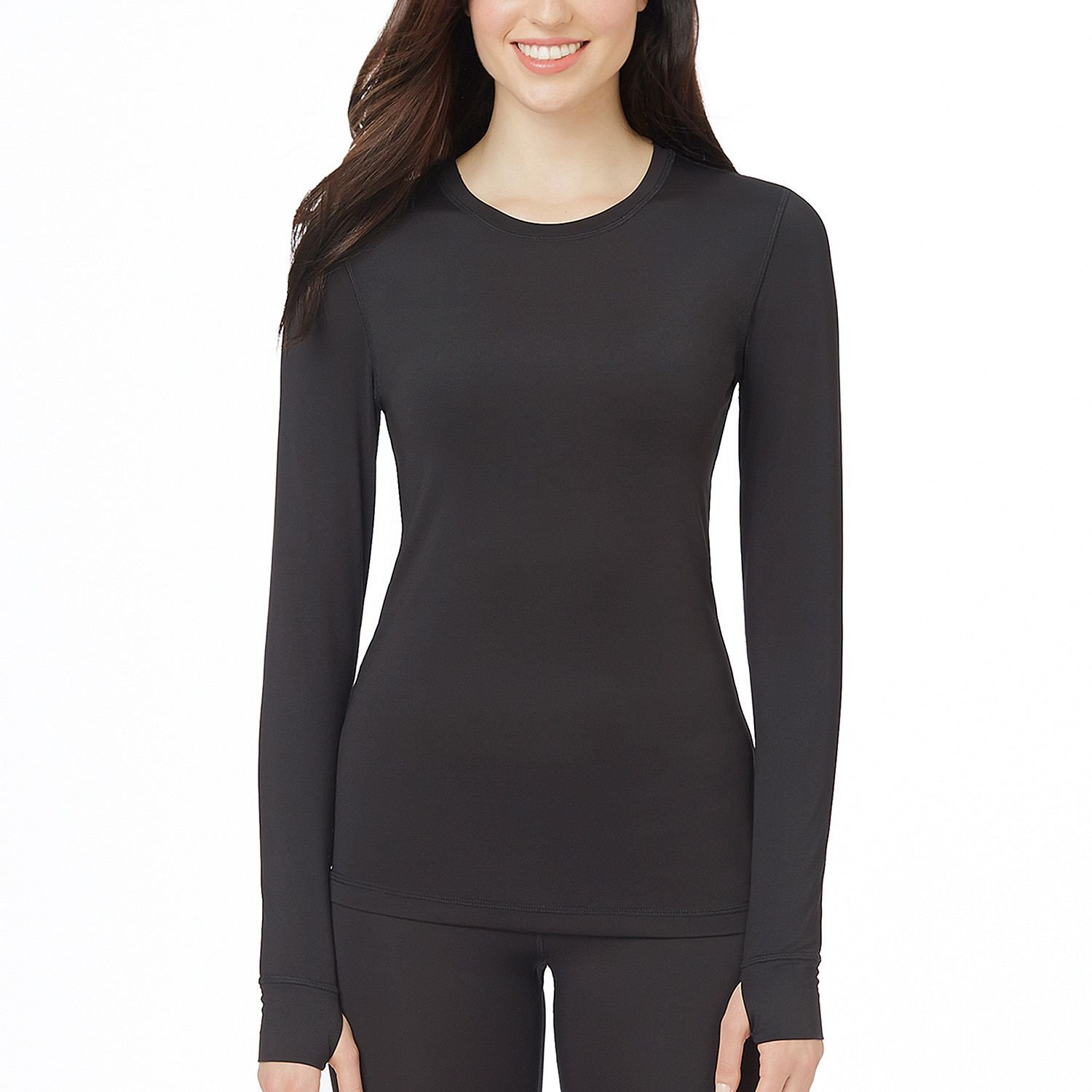 Cuddl Duds active tech warm layer Long Sleeves crew top with thumbholes - Black
