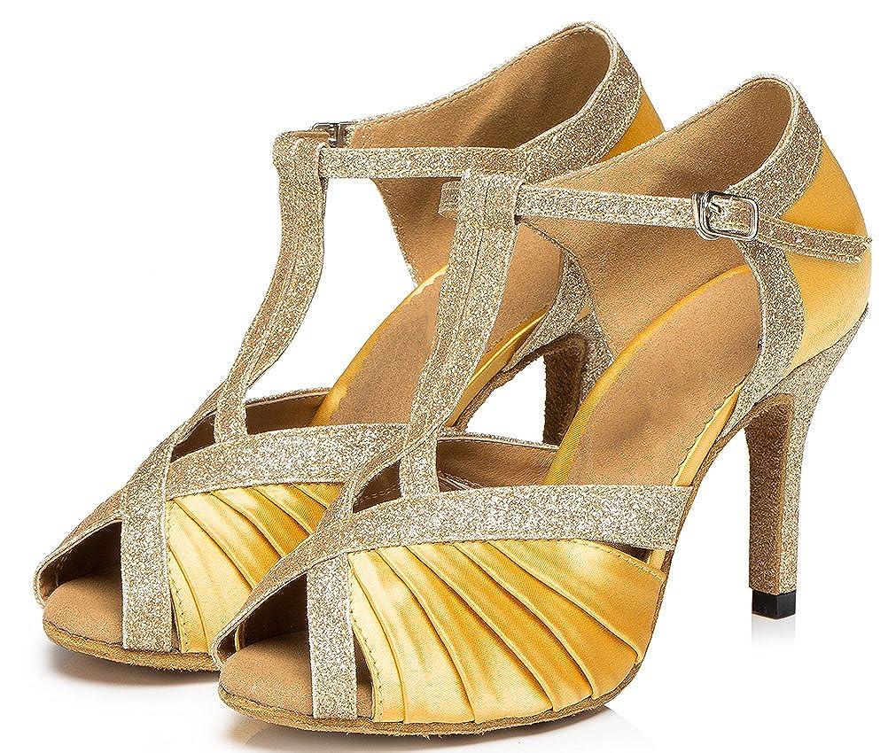 Womens T-bar Latin Modern Tango Cha-cha Peep-Toe Satin Professional Dance-Shoes