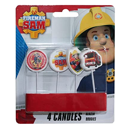 Procos SA Firefighter Sam Party Set Cake Candles Decoration 4 Pieces