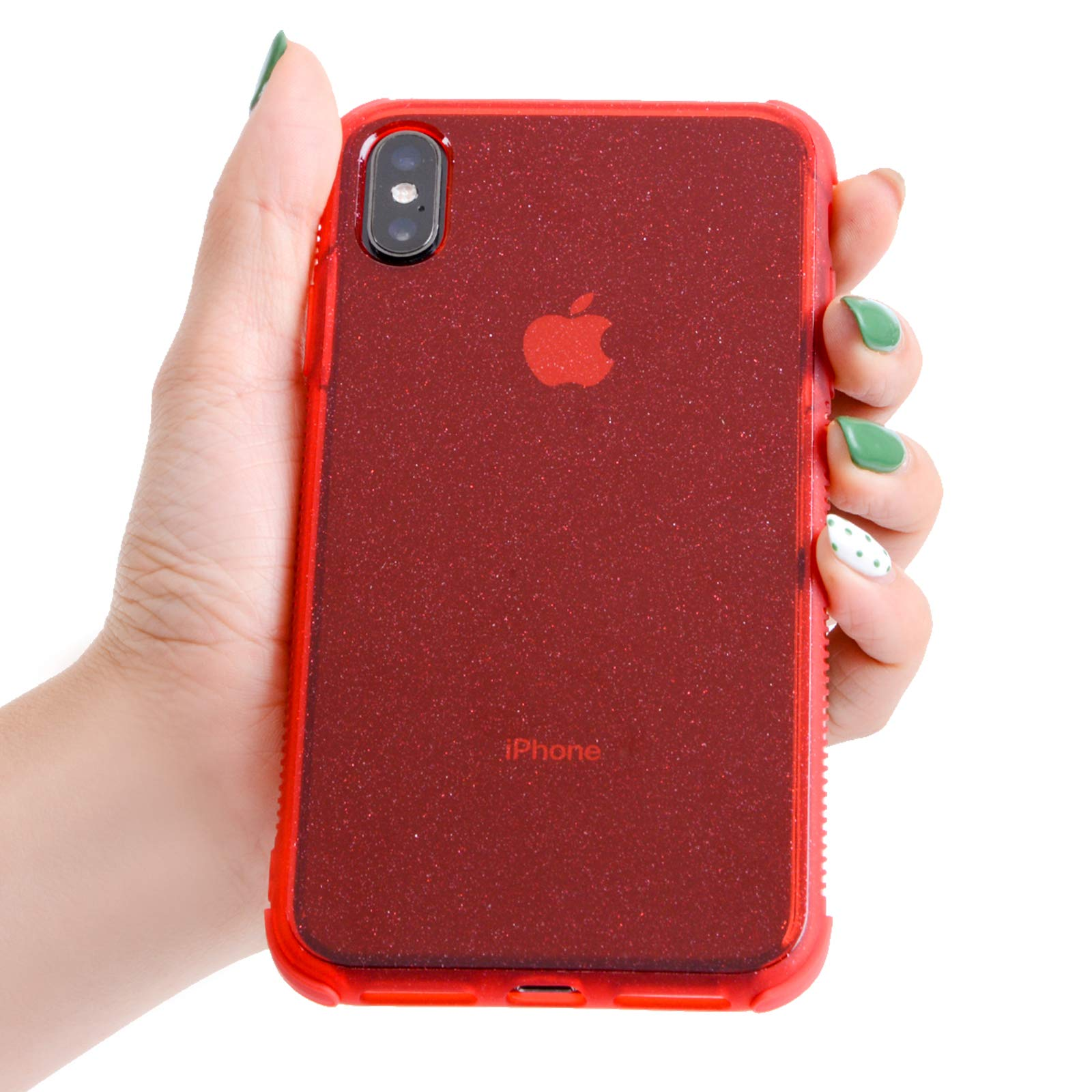 Voilamart iPhone X Case, iPhone Xs Case Bling Shiny Cute Pattern Design Sparkle Glitter Anti-Slick/Protective Case for iPhone X/Xs 5.8 Inch, Red
