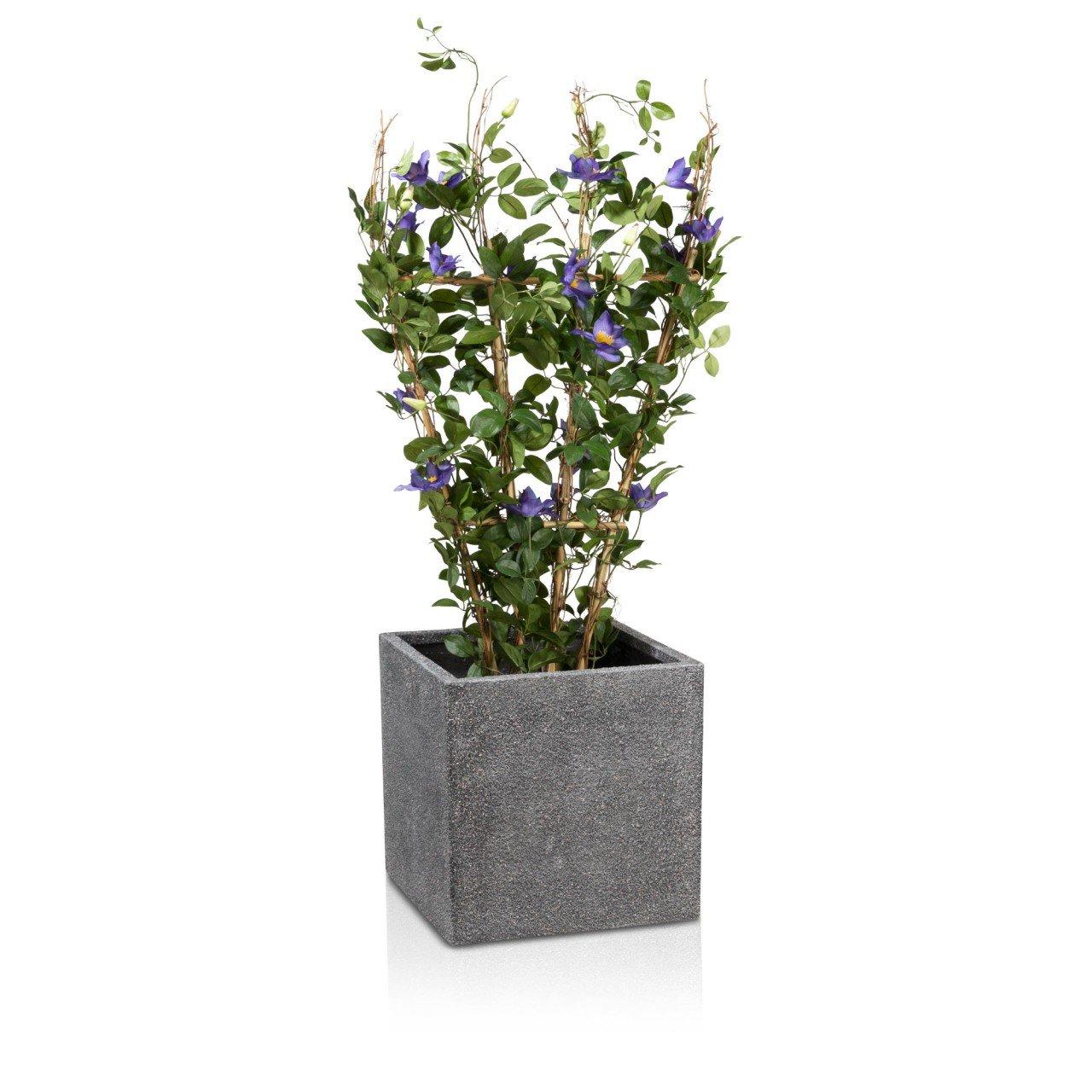 Blumenkübel Pflanzkübel CUBO 40 Fiberglas, 40x40x40 cm, grau ...