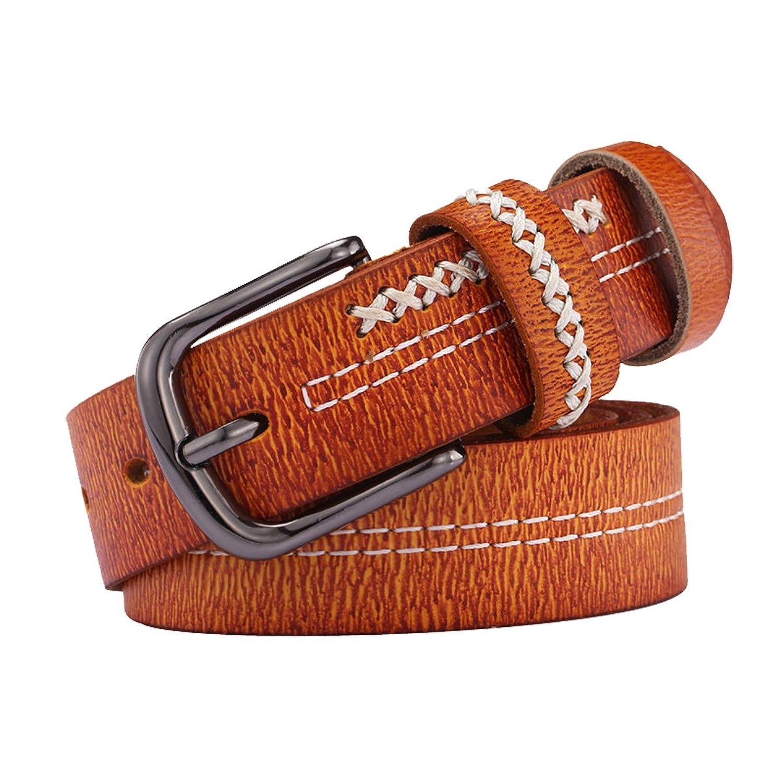 E-Clover Women's Vintage Brown Leather Western Jean Belts Braied Pattern
