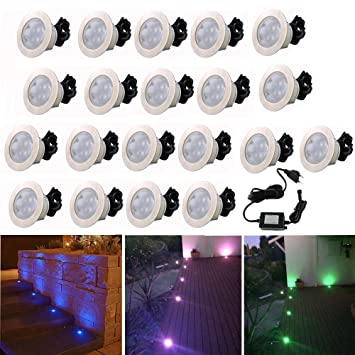 Lot De 20 Lampe De Spot Encastrable Rgb Led Pour Terrasse Patio