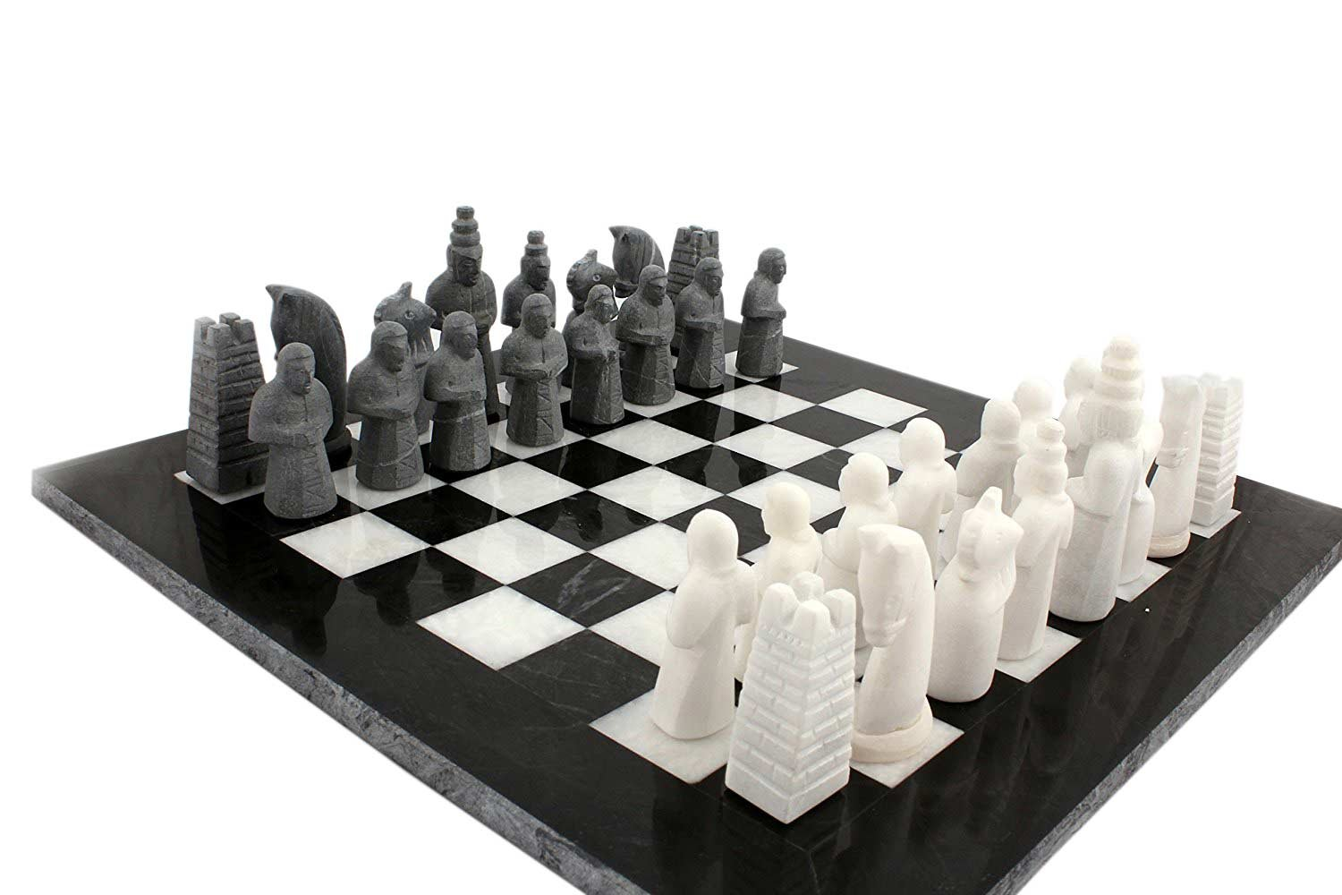 16 Inches Handmade Original Marble Two Players Full Chess Game Table Sets (White and Black)
