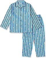 【ノーブランド品】 綿100% 長袖 キッズ パジャマ 春 秋 向け ストライプ柄 ボーイズ 110サイズ ブルー