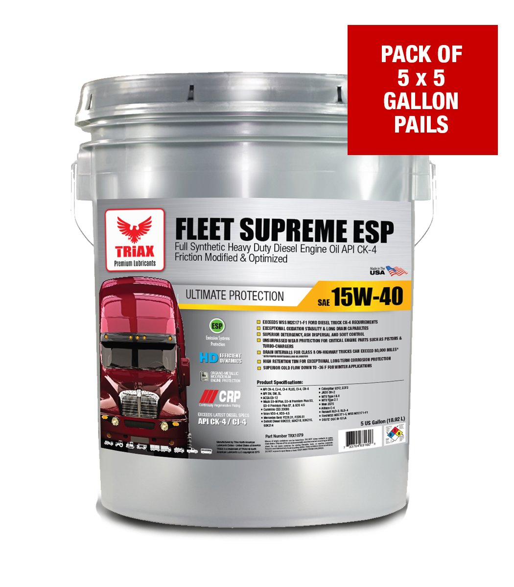 FULL SYNTHETIC 15W-40 TRIAX FLEET SUPREME API CK-4 - Friction Modified / Optimized with Moly & Boron - Extreme Durability - TOP EBAY SELLER (5 GAL PAIL (5 PAIL SPECIAL)) by Triax