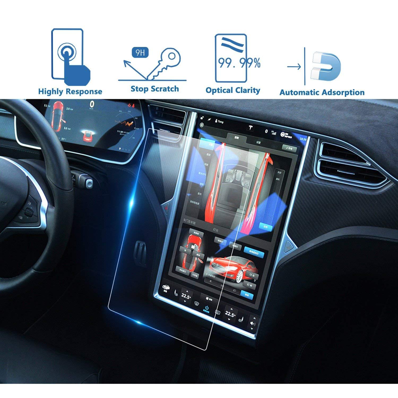 LFOTPP Tesla Model X/Model S 17-Inch Car Navigation Screen Protector, Center Touch Infotainment Media Tempered Glass Touch Screen Protector for 60 60D 70 70D P85D 90D 100 P100D 75D P90D P100D