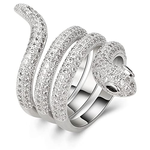 Kemstone Original Silver Plated Crystal Twisted Snake Ring Jewelry for Women, Size 6, 7, 8, 9