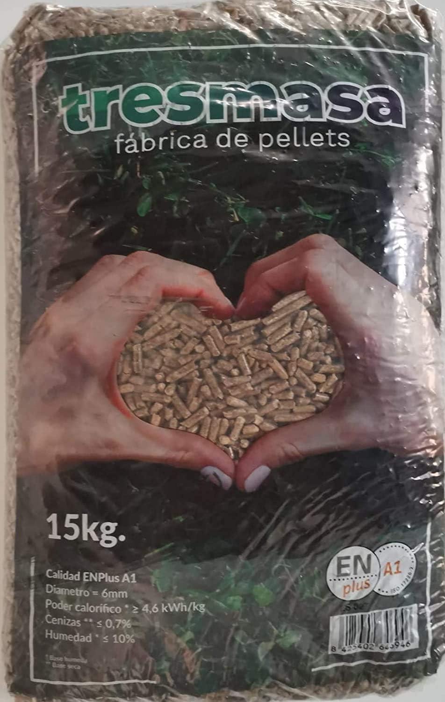 Pellet de madera de pino | Saco de pellets 15 kg | Combustible para Estufa Biomasa | Pellets certificado para calcera de Biomasa