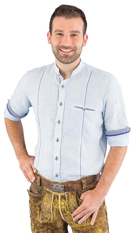 Pure Trachtenhemd Herren langarm C12613-21699 160 streifen hellblau