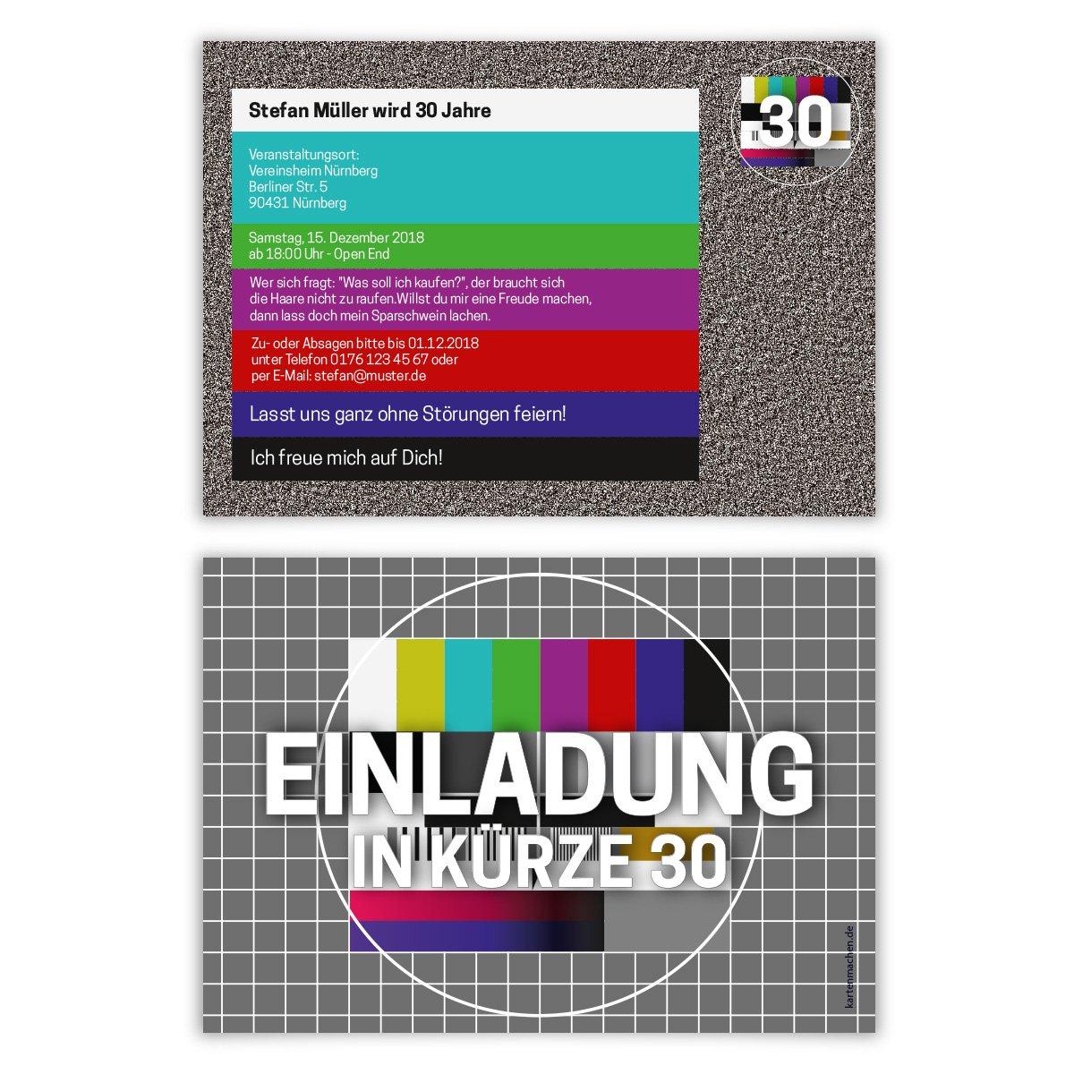 10 x Geburtstag Einladungskarten Geburtstagseinladung Einladungen Karten - TV Signalstörung Rauschen Kartenmachen.de