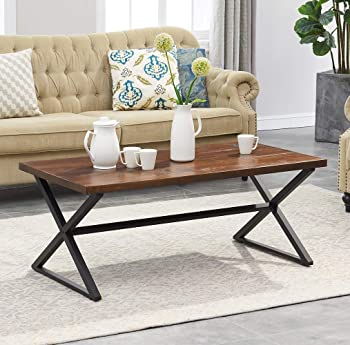 O&K Furniture Farmhouse Industrial Coffee Table with X-Shaped Frame