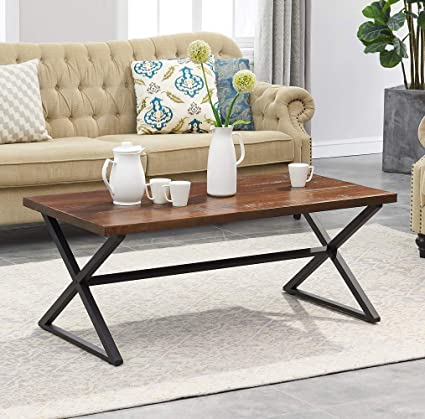 Charmant Ou0026K Furniture Farmhouse Industrial Cocktail Coffee Table With X Shaped Frame  For Living Room And