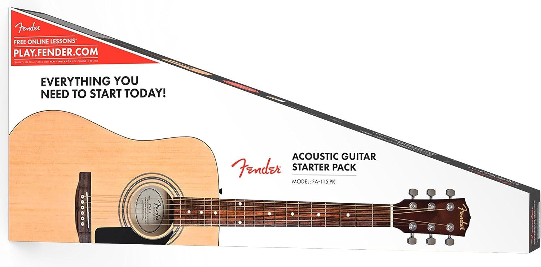 Fender FA-115 Dreadnought - Guitarra acústica (incluye estuche ...