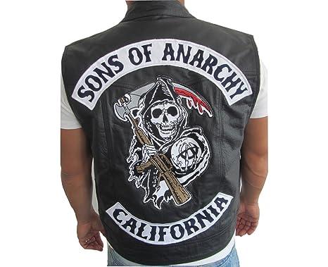 Chaleco de piel estilo Jax de Sons of Anarchy negro XXL ...