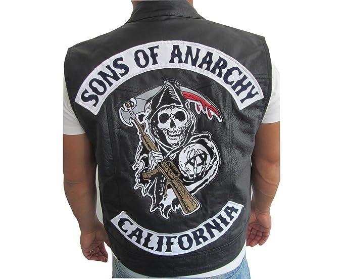 Chaleco de piel estilo Jax de Sons of Anarchy negro small: Amazon.es: Ropa y accesorios