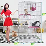 "Cat Cage Pet Playpen Cat Crate Kennels Large 3-Tier 67"" Height Kitten House Furniture Wire Metal Pet Enclosure w/3 Front Doors 2 Ladders 2 Platforms Bed Hammock Cat Condo for Ferret Rat Cat chinchilla"
