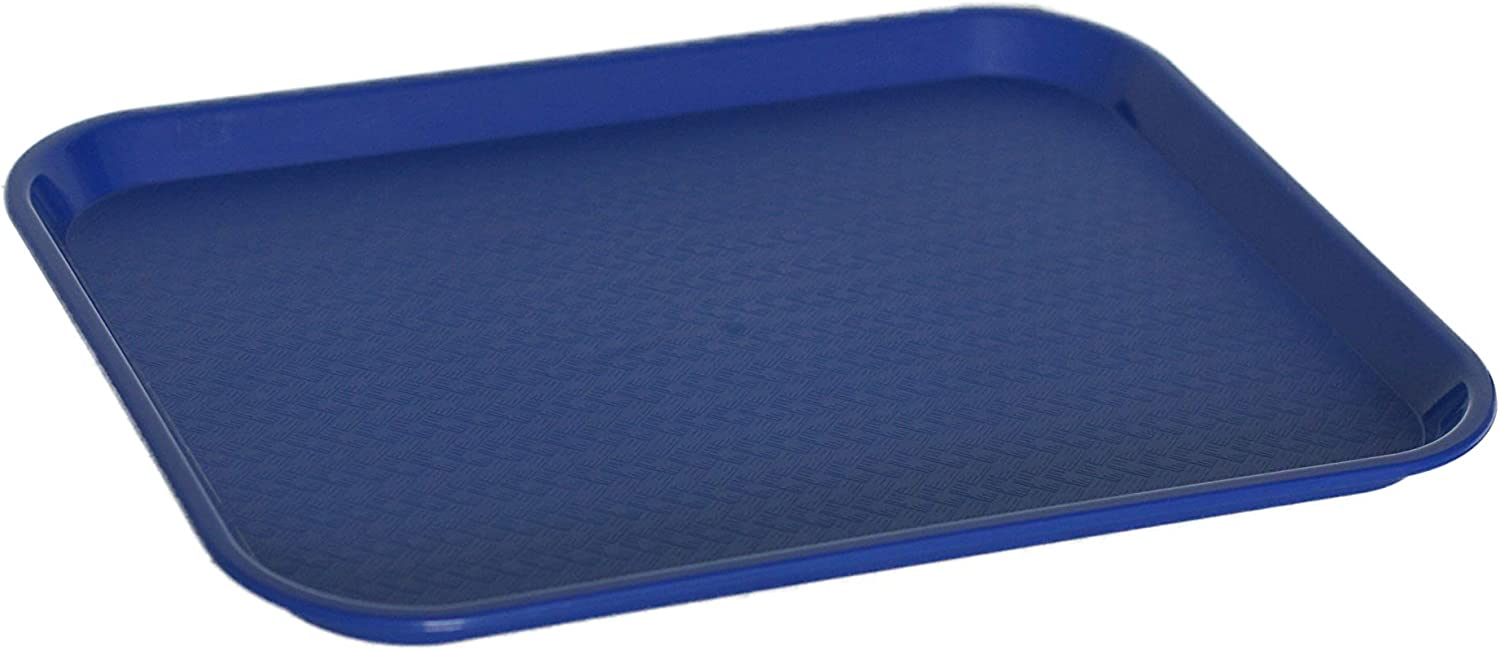 Caspian Plastic 1014 inch Fast Food Serving Tray Rectangular Cafeteria Non-Slip Tray,Set of 12 (Blue)