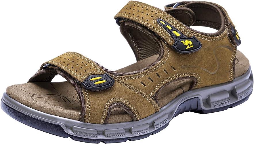 CAMEL CROWN Herren Outdoor Sports Sandalen Waterproof Wandersandalen Strand Ledersandalen Trekking Sommer Männer Sandalen Schuhe Klettverschluss