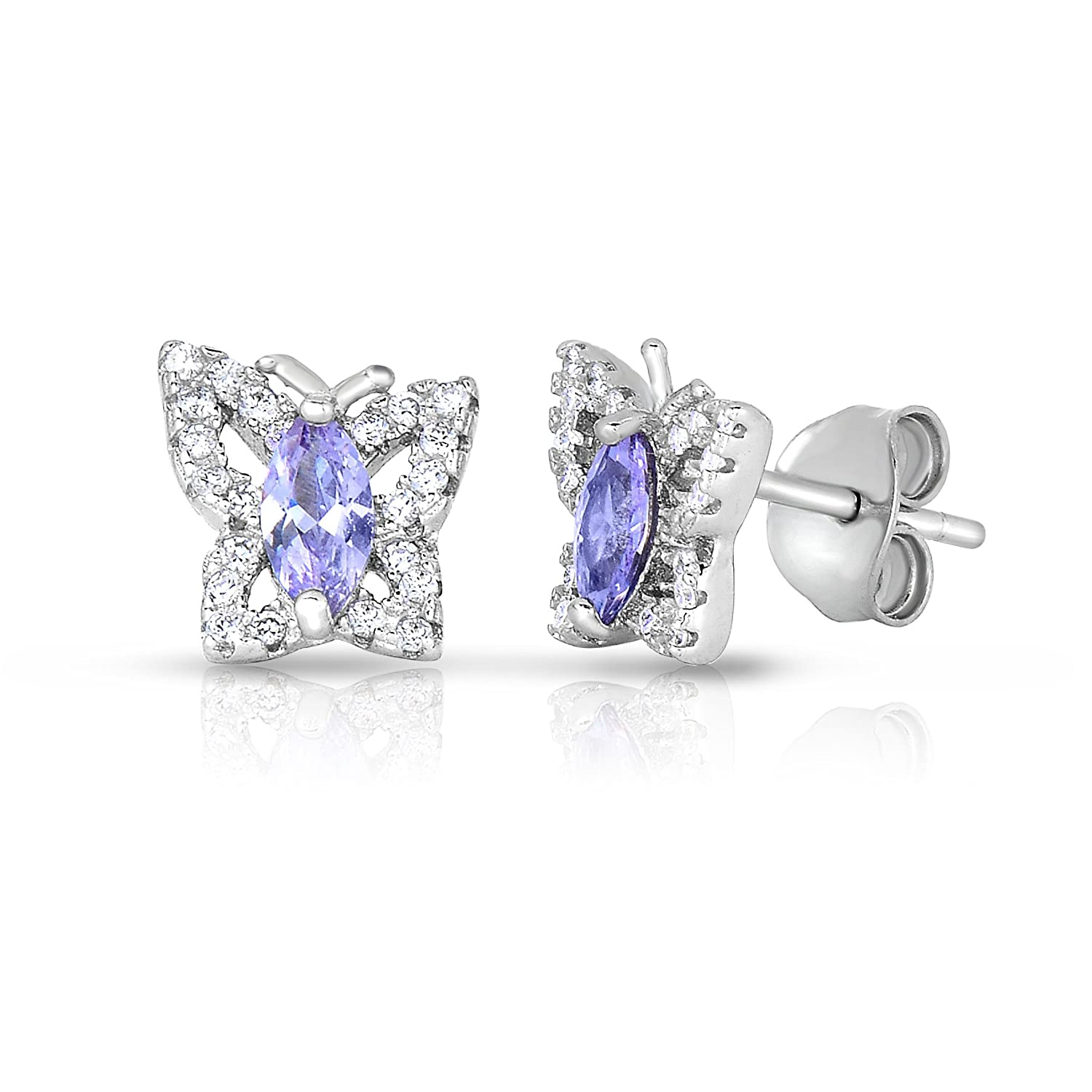 .925 Sterling Silver Simulated Birthstone Cubic Zirconia Butterfly Stud Earrings for Girls NYE1079