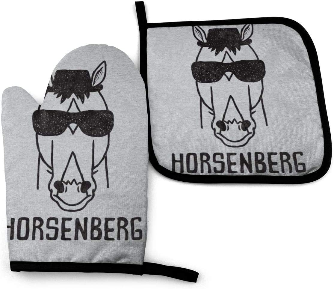 667 Horsenberg Breaking Bad BoJack Horseman -Oven Mitts and Pot Holders Heat Resistant Kitchen Bake Gloves Cooking Gloves