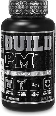 Build PM Night Time Muscle Builder & Sleep Aid - Post Workout Recovery & Sleep Support Supplement w/VitaCherry Tart Cherry, Ashwagandha, Melatonin, More - 60 Natural Veggie Pills