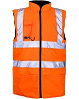 Hi Viz Vis Bodywarmer Fleece Lined Reversible High Visibility Reflective Waterproof Workwear Security Safety Wear Warm Gilet Waistcoat Body Warmer Padded Vest
