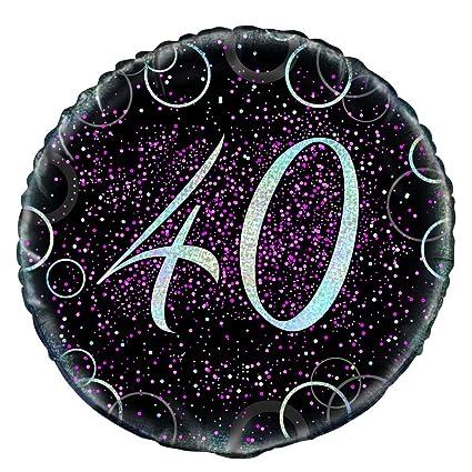 Unique Party- Globo foil de 40 cumpleaños, Color rosa ...