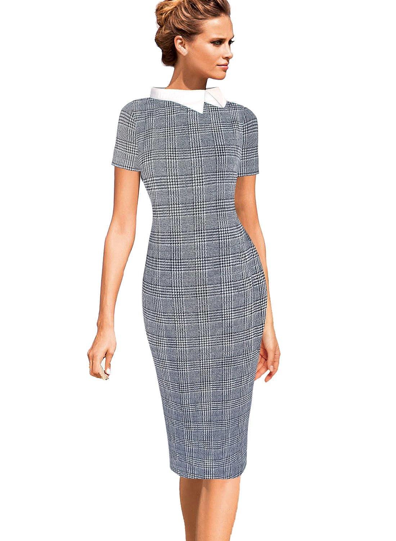 031bc048f948 VfEmage Womens Celebrity Colorblock Lapel Wear to Work Office Sheath Dress