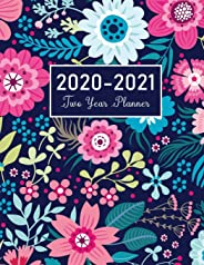 2020-2021 Two Year Planner: Flower Watecolor Cover   2 Year Calendar 2020-2021 Monthly   24 Months Agenda Planner with Holid