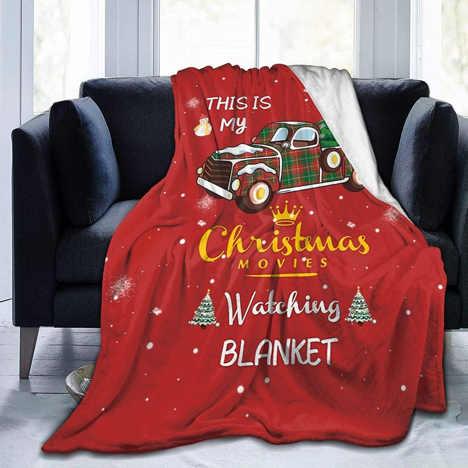 FAITH MORLEY This is My Christmas Movie Watching Blanket Comfortable Thin Warm Flannel 4 Seasons Adult Children Couch Aircraft Towelling Quilt Xmas Present 80X60 for Unisex Adults//Queen L