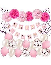 Décorations Anniversaire, Anniversaire Bannière Décoration Fête 1 * Banderole Happy Birthday + 6 Pompon rose + 16 Ballons confettis + 6 Hanging Swirl Decorations pour Filles, Garçons et Adultes (Rose)