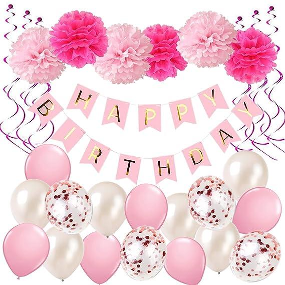 Luftballons 1 Wimpelkette Geburtstag Mädchen rosa pink Girlande Deko Set
