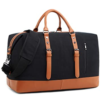 76d31c131 Amazon.com | Weekend Duffle Bag Canvas Travel Bag Carry On PU Leather Trim  Overnight Luggage for Men and Women (Black 832) | Sports Duffels