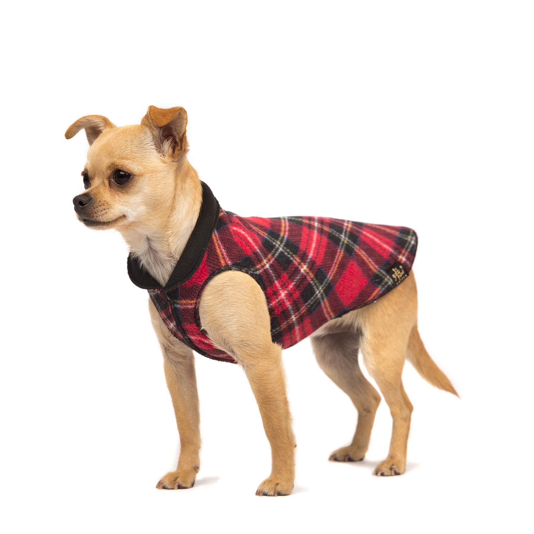 Gold Paw Duluth Double Fleece Dog Coat Pullover - Soft, Warm Dog Clothes, 4-Way Stretch Pet Sweater - Machine Washable, All-Season, Red Tartan/Black, Size 14 by Gold Paw