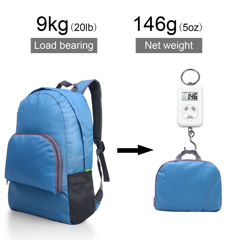 Kitdine Mochila Ultraligera Plegable Duradera Perfecta para Viajes Montañismo Mochila Compacta Carga de 20L (Azul)