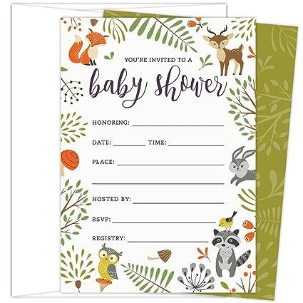 Koko Paper Co Woodland Invitaciones Para Baby Shower Con