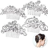 4-pack brud bröllop hår kam, fashionabla kvinnor hår sidokam hårklämma kristall strass pärlor bröllop dekoration…